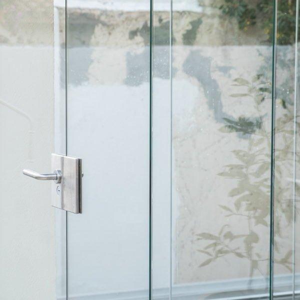 maneta de cortina de cristal transparente